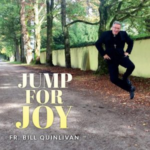Jump for Joy album cove artwork showing Fr. Bill jumping in the air